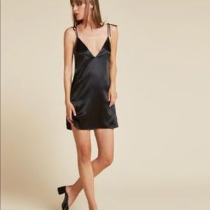 Reformation black silk slip dress, size XS